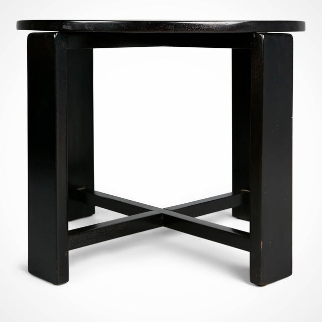 Tan 1940s French Art Deco Cocktail Nesting Table and Leather Stools Set For Sale - Image 8 of 11