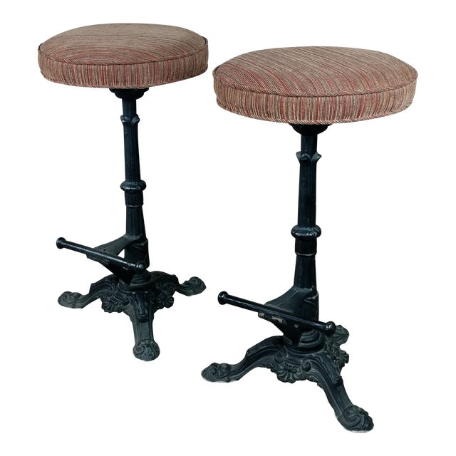 Victorian Cast Iron Bar Stools - a Pair For Sale