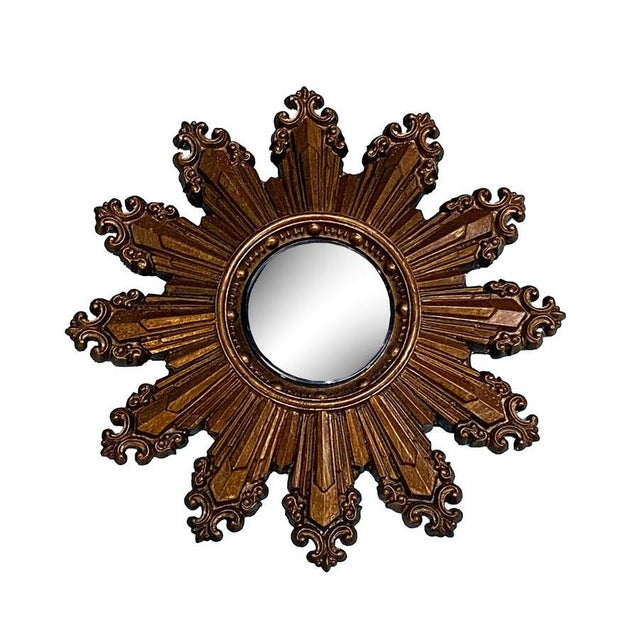 1970s Vintage Small Gilt Convex Starburst Mirror For Sale - Image 5 of 5