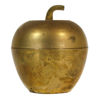 Brass Apple Lidded Container, Brass Apple, Vintage Brass, Brass Container For Sale
