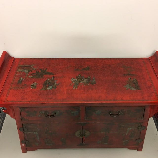 Chinese Antique Style Painted Buffet Cabinet - Image 8 of 8
