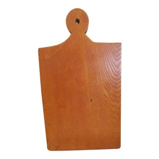 1800s Antique New England Lollipop Handle Tiger Maple Cutting Board For Sale