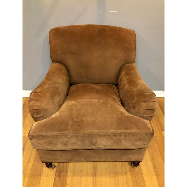 English George Smith Brown Suede Chair For Sale - Image 3 of 7
