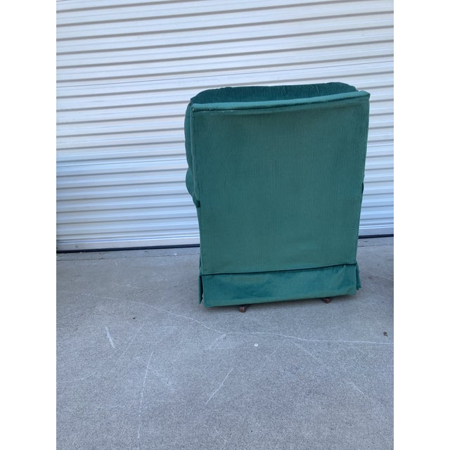 Mid-Century Modern Vintage Broyhill Emerald Green Chair and Ottoman For Sale - Image 3 of 13