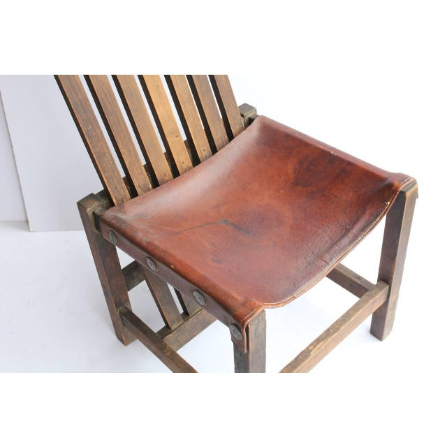 Antique Leather and Oak Accent Chair - Image 4 of 5