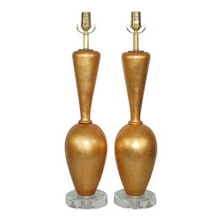 Plaster Table Lamps Gold Leaf For Sale