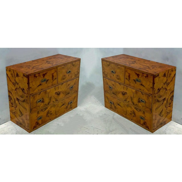 Pair of 1970s patchwork burl campaign style chests attributed to Henredon.