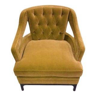 Harvest Gold Velvet Tufted Club Chair For Sale