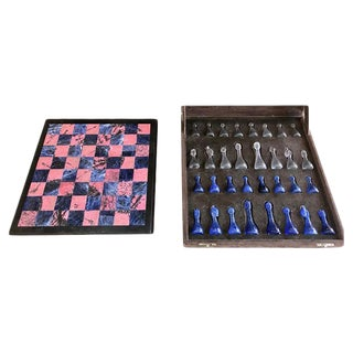 Blu Marble and Art Glass Chess Game Set, Italy, Circa 1960s For Sale
