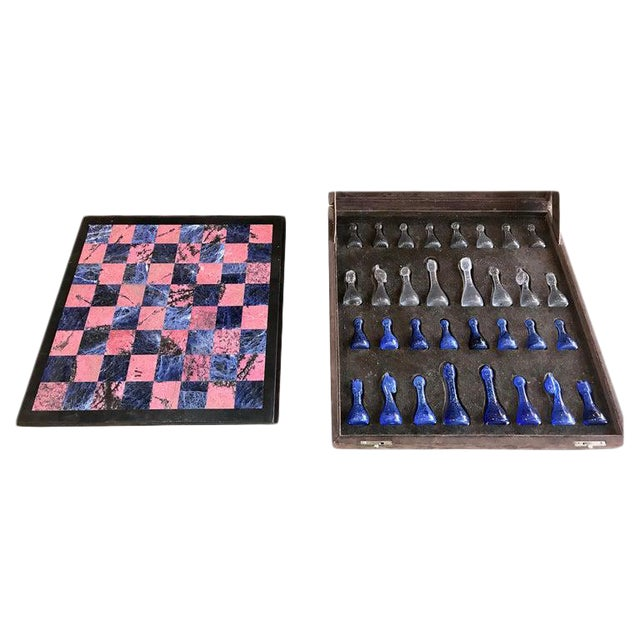 Blue Marble and Art Glass Chess Game Set, Italy, Circa 1960s For Sale