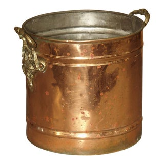 English Copper Wine Bucket With Brass Grape Leaf Handles For Sale