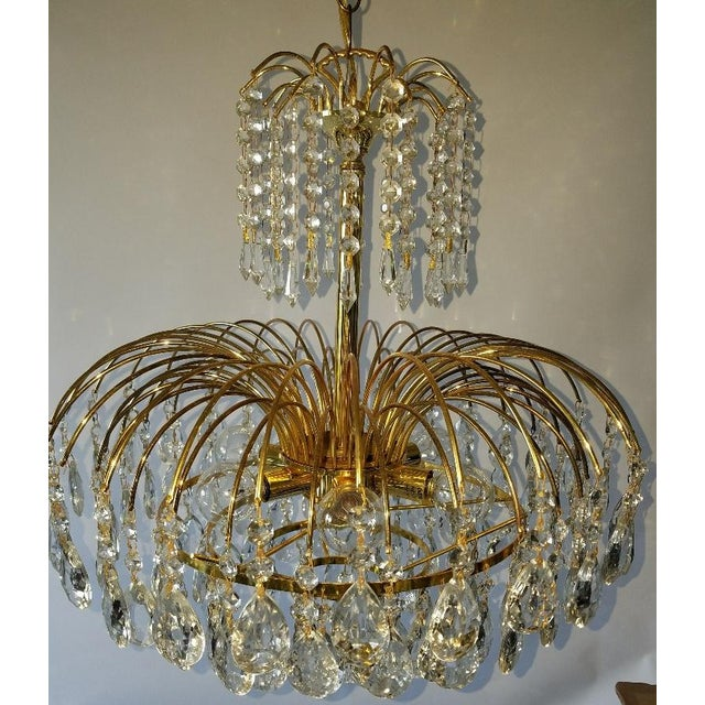Mid-Century Crystal & Brass Plated Spider Chandelier - Image 8 of 11
