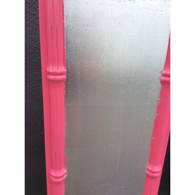 Pink 20th Century Hollywood Regency Hot Pink Lacquered Twin Headboard With Silver Leaf For Sale - Image 8 of 13