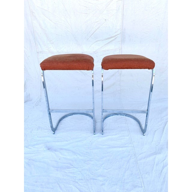 Milo Baughman Cantilevered Baughman-Style Bar Stools - a Pair For Sale - Image 4 of 8