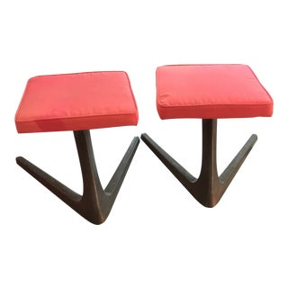 1960s Vintage Space Age Kagen Style Stools- A Pair For Sale