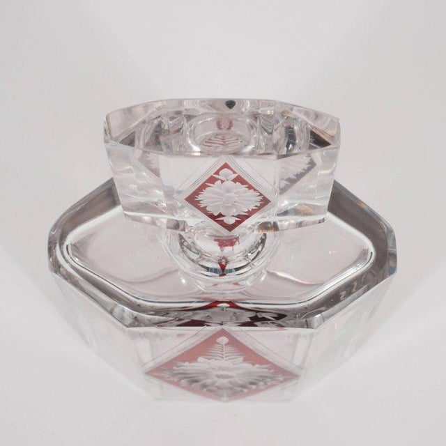 1930s Art Deco Czech Crystal Decanter with Stained Cardinal Red Glass and Floral Motif For Sale - Image 5 of 10