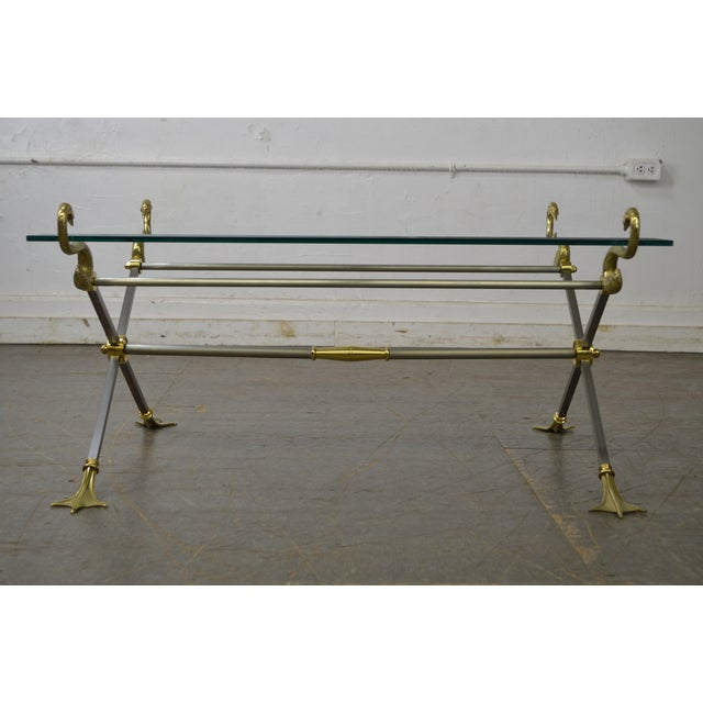 1990s LaBarge X Base Brass Brushed Steel Glass Top Coffee Table For Sale - Image 5 of 13