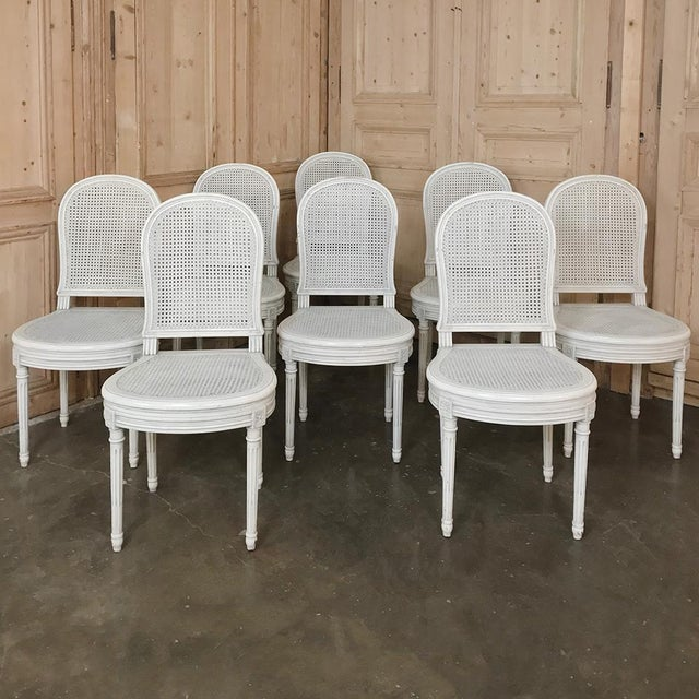 Early 20th Century Antique French Louis XVI Painted Dining Chairs-Set of 8 For Sale - Image 13 of 13