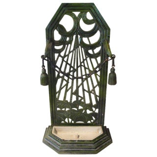 1920s Antique French Art Deco Enameled Iron Umbrella Stand For Sale