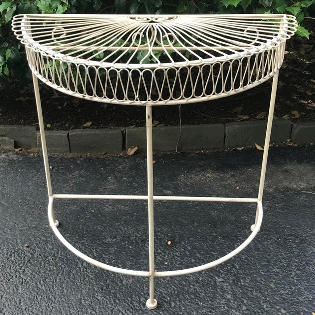 Vintage Wrought Iron Demi Lune Table With Original Paint For Sale - Image 10 of 11
