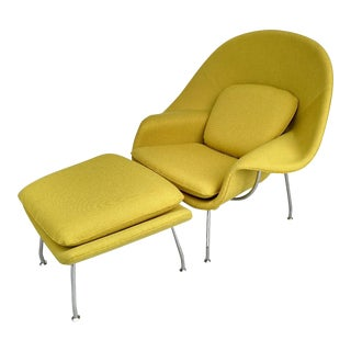 Mid-Century Modern Knoll Canary Yellow Womb Styled Chair and Ottoman - 2 Piece Set