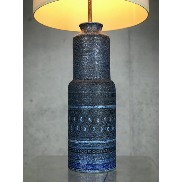 Huge & colorful 1960's Italian ceramic lamp by Bitossi for Raymor. Very nice vintage condition. *Shade not included...