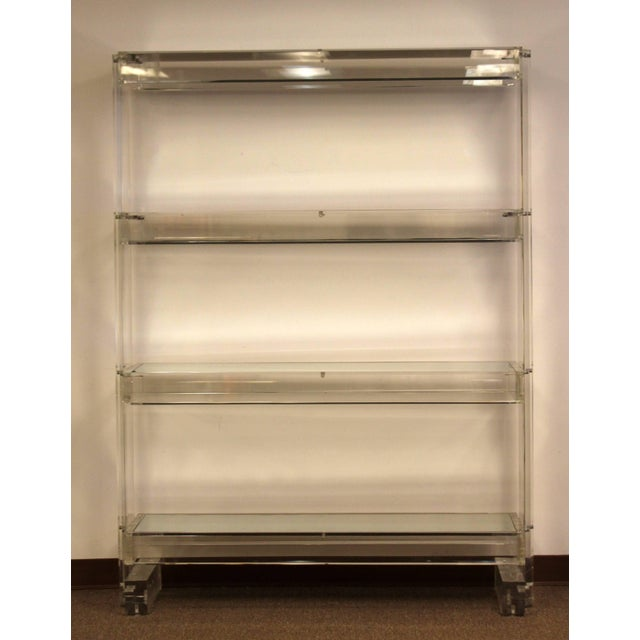 For Your Consideration Is A Beautiful Lucite And Mirrored Glass Bookcase Shelving Unit