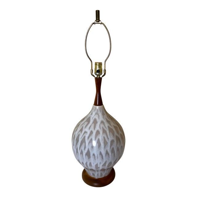 Mid Century Danish Pottery Teak Table Lamp For Sale