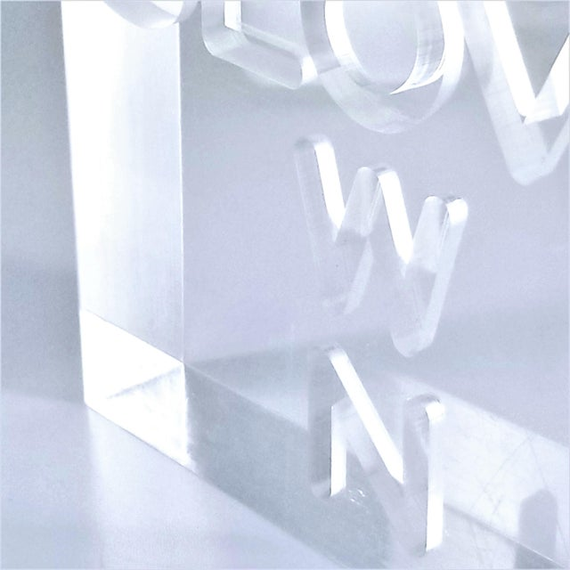 """Pop Art 1960s Lucite Sculpture With Engraved """"Slow Down"""" Text For Sale - Image 11 of 13"""