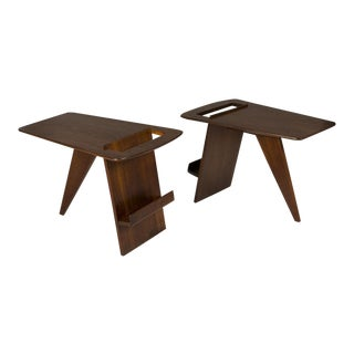 Pair of Wedge Top Magazine Tables by Jens Risom For Sale