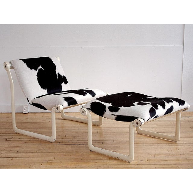Knoll 1970s Cowhide Sling Chair by Hannah & Morrison for Knoll - a Pair For Sale - Image 4 of 4