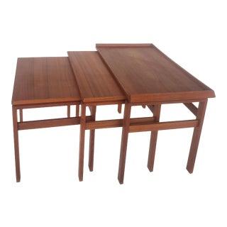 Moreddi Danish Modern Teak Stacking Nesting Tables - Set of 3 For Sale