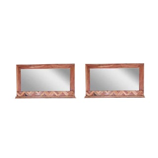 Andover Frame Wooden Wall Mirrors - a Pair, Decorative Accent Mirror, Living Room, Small Spaces- Natural For Sale