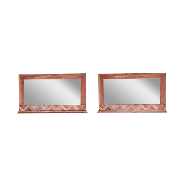 Andover Frame Wooden Wall Mirrors - a Pair, Decorative Accent Mirror,  Living Room, Small Spaces- Natural