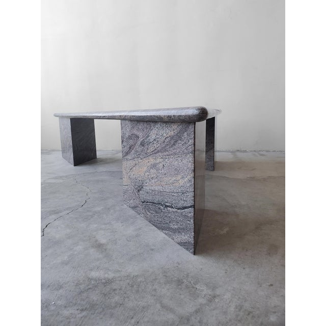 Stone Post Modern Trianglular Coffee Table For Sale - Image 7 of 9