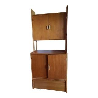 Vintage Mid-Century Modern Swedish Teak & Oak Wall Unit - Scandinavian Shelf For Sale