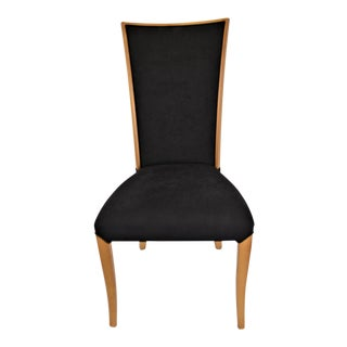 Contemporary Slim High Back Wooden Frame and Upholstered Dining Chair, Made in Italy For Sale