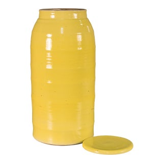 Transitional Sarreid Ltd. Yellow Ceramic Milk Jar For Sale