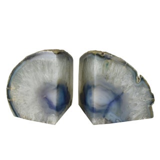Natural Agate Geode Solid Stone Candle Holders Bookends- - a Pair Preview