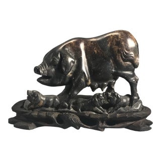 Early 20th Century Chinese Stone Carving of Pigs For Sale