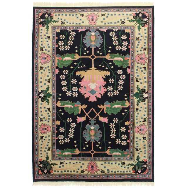 """RugsinDallas Hand Knotted Wool Indian Rug - 6' X 8'6"""" - Image 1 of 2"""