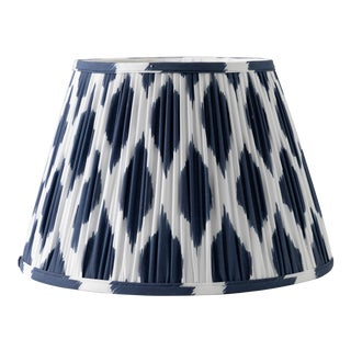 "Signature Ikat in Navy 14"" Lamp Shade, Navy Blue For Sale"
