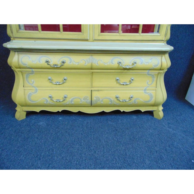 Mid 20th Century Drexel French Style Paint Decorated China Cabinet For Sale - Image 5 of 10