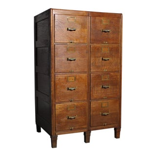 Early 1900s Oak Library Bureau Filing Cabinet For Sale