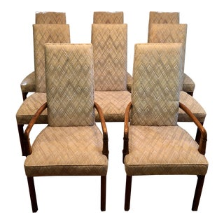 Mid Century Drexel High Back Upholstered Dining Chairs - Set of 8 For Sale