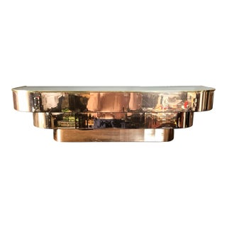 Art Deco Mirrored Brass Floating Console For Sale