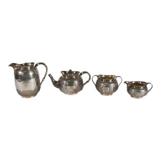 Engraved Antique English Elkington Silver Plate Tea and Coffee Set 19th C. - Four Pieces For Sale