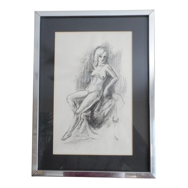 Vintage Charcoal Female Nude Drawing For Sale