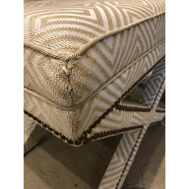 Tan Transitional Scalamandre Upholstered X Bench For Sale - Image 8 of 12