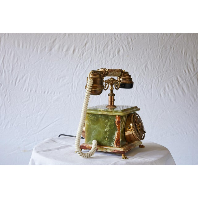 Art Deco Vintage Italian Green Onyx and Gilded Bronze Telephone For Sale - Image 3 of 13